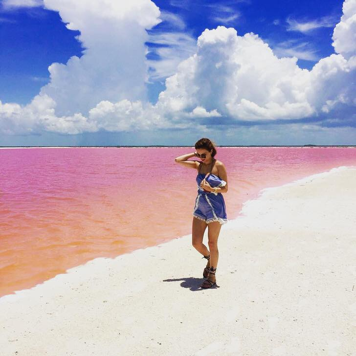 One of the most Instagram-worthy places: Naturally Pink Lagoon in Mexico
