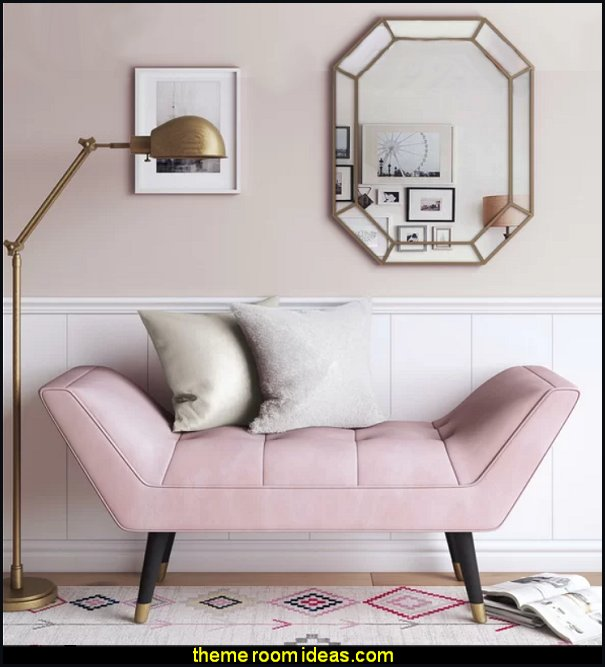 Pink Allura Upholstered Bench blush pink bedroom furniture