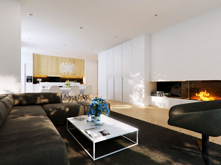 20 ideias de salas modernas com lareira decora o e ideias for Divano incassato