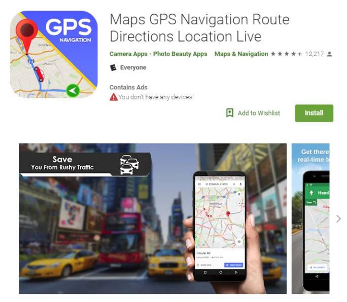 Applicazione GPS Android pagina del Play Store