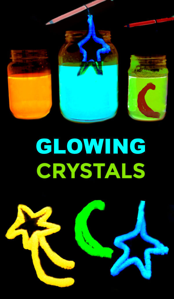 WOW the kids and grow your own crystals that glow-in-the-dark.  This fun science experiment will have the entire family in awe! #glowingcrystals #glowingscienceexperiments #glowingcrystalsforkids #crystals #scienceexperimentskids #sciencefairprojects #scienceprojects #science #growingajeweledrose #activitiesforkids