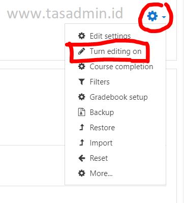 turn editing on moodle