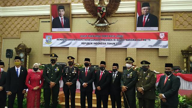 DPRD Kota Jambi Gelar Paripurna Mendengarkan Pidato Presiden RI dalam Rangka HUT Ke-75