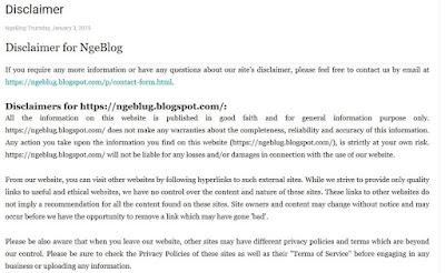 Cara Mudah Membuat Disclaimer Untuk Blogger - Tampilan Hasil Halaman Disclaimer di Blogger