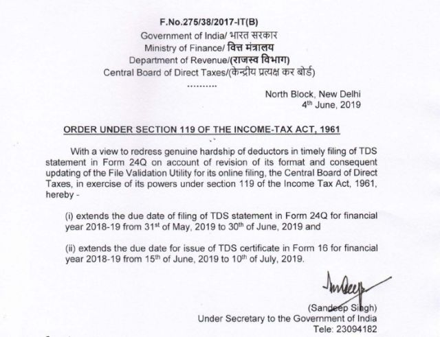 cbdt-extended-time-limit-for-filing-of-24q-tds-return-fy-2018-19
