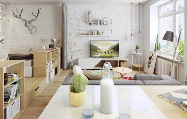 Apartment With Scandinavian Furniture And Nordic Decoration