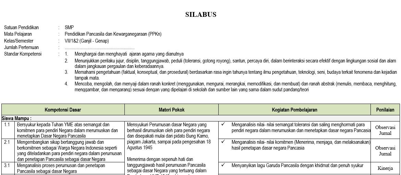 Silabus Pkn Smp Mts Kelas 7 Semester Ganjil Kurikulum 2013 Tahun Pelajaran 2020 2021 Didno76 Com