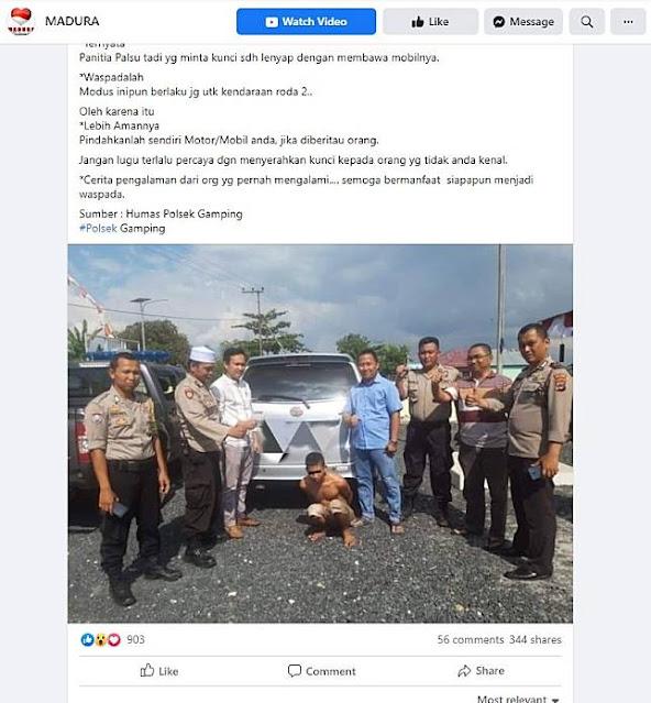 Beredar narasi yang menyebutkan ada modus pencurian baru yang beredar di wilayah Gamping