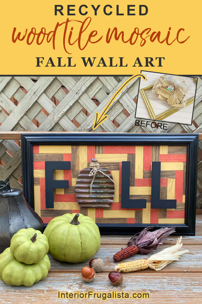 An easy beginner recycled wood tile geometric mosaic fall wall art with a simple pattern that doesn't require intricate cuts, stained in fall colors. #woodmosaicwallart #fallwoodsignsdiy #fallwoodcrafts #diyfallwooddecor #diyfallwooddecorations #diygeometricwallart