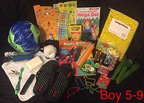 5 to 5 year old boy Operation Christmas Child shoebox.