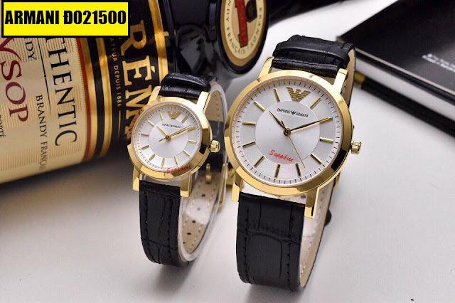 Đồng hồ cặp đôi dây da Armani Đ021500