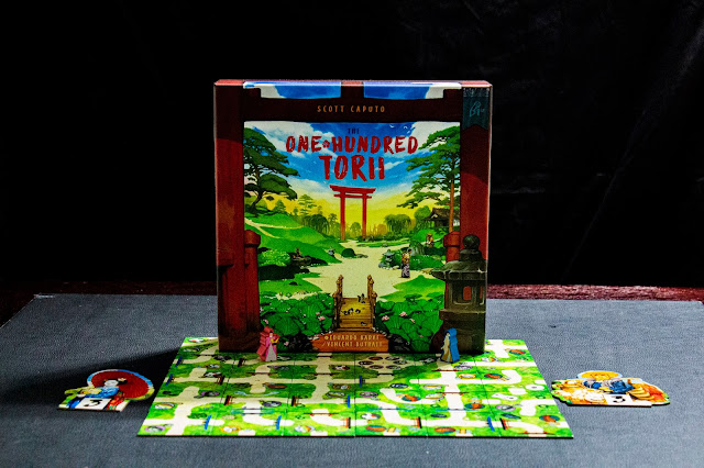 The One Hundred Torii game by Pencil First Game board game review; Box and components; Photo by Benjamin Kocher 2020