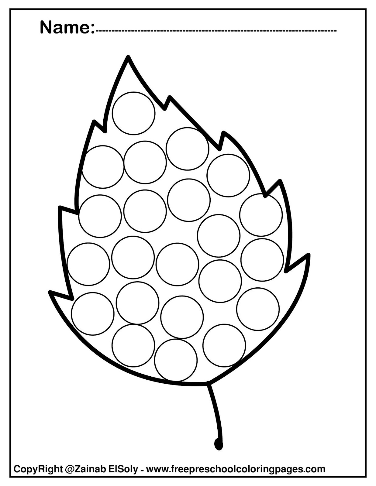 Set of free Autumn leaves - Fall dot marker activity for kids