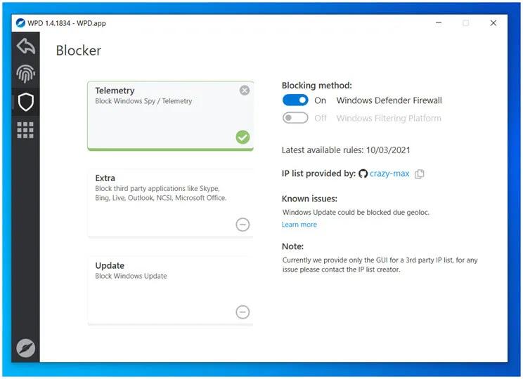 WPD : Προσαρμόσετε τη μετάδοση δεδομένων στην microsoft στα Windows 10