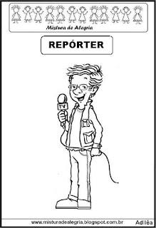 Desenho de repórter para colorir