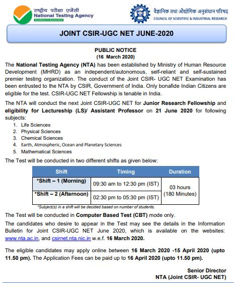 image : CSIR UGC NET Exam June 2020 @ TeachMatters