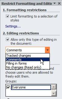 cara mengunci sebagian goresan pena dokumen ms word