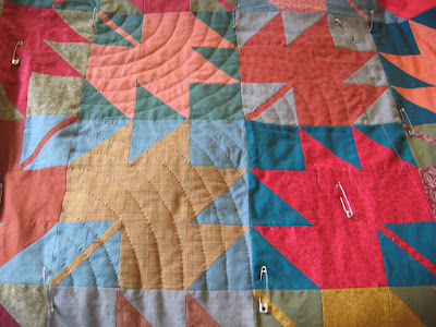 hand quilting on Autumn Maples quilt