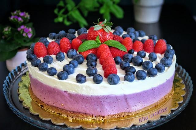 ciasto z borówkami amerykańskimi bez pieczenia