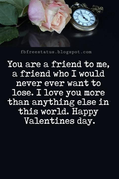 Valentines Day Messages For Friends, You are a friend to me, a friend who I would never ever want to lose. I love you more than anything else in this world. Happy Valentines day.