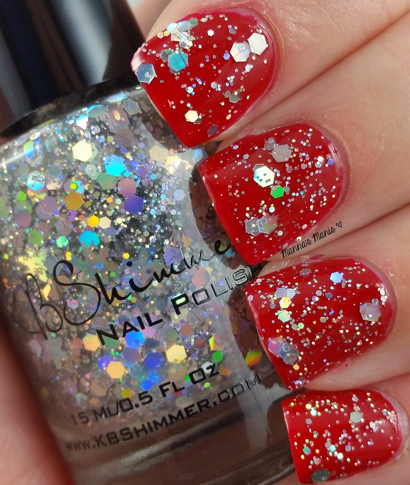 kbshimmer flake dance, a holographic snowflake glitter nail polish