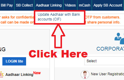 how to link aadhar card with sbi bank online