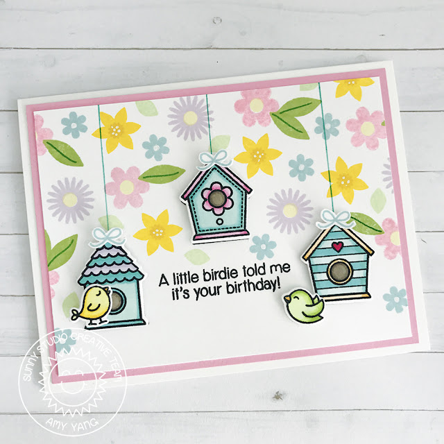 Sunny Studio Stamps: A Bird's Life and Friends & Family Floral Background Card by Amy Yang