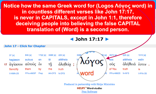 Notice how the same Greek word for (Logos Λόγος word), is never in CAPITALS, except in John 1:1,