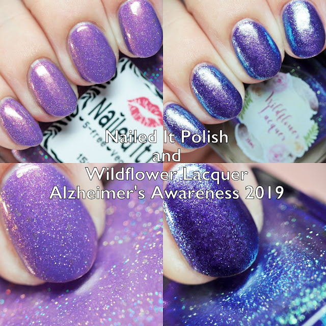 Nailed It Polish and Wildflower Lacquer Alzheimer's Awareness 2019