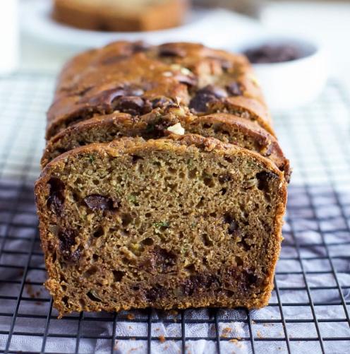 Chocolate Chip Zucchini Bread #healthycakes #diet #paleo #whole30 #snack