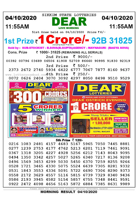 Lottery Sambad Result 04.10.2020 Dear Love Morning 11:55 am