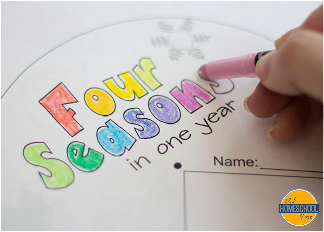 free printable to teach toddler, preschool, kindergarten, first grade, and 2nd grade about four seasons spring, summer, fall, winter and months of the year