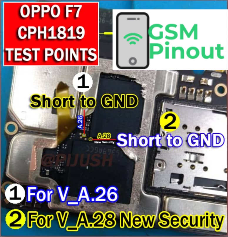 Oppo F7 CPH1819 ISP(EMMC) Pinout For EMMC Programming