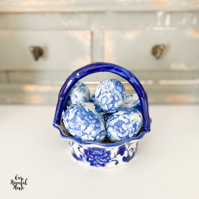 blue white china basket chinoiserie eggs