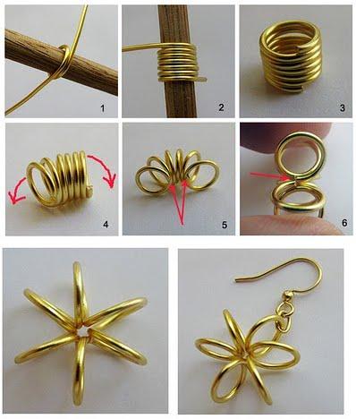 aa3ad873165b Aquí os dejo unos tutoriales para aprender a manajer los alambres de  aluminio y confeccionar maravillas como esta ... Pendientes de estrella