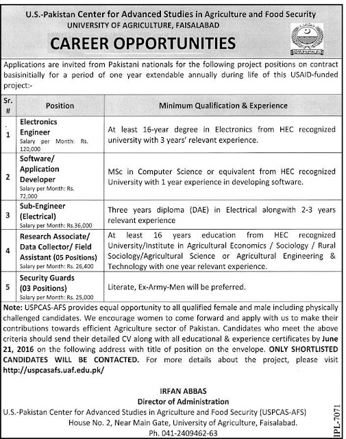 Engineer Jobs in US Pakistan Center for Advanced Studies UOA Faisalabad