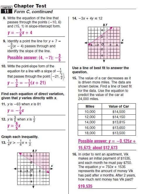 Mcdougal Littell Algebra 2 Chapter 11 Test Answers ...