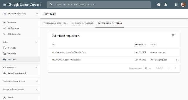 filtrage safesearch dans la search console