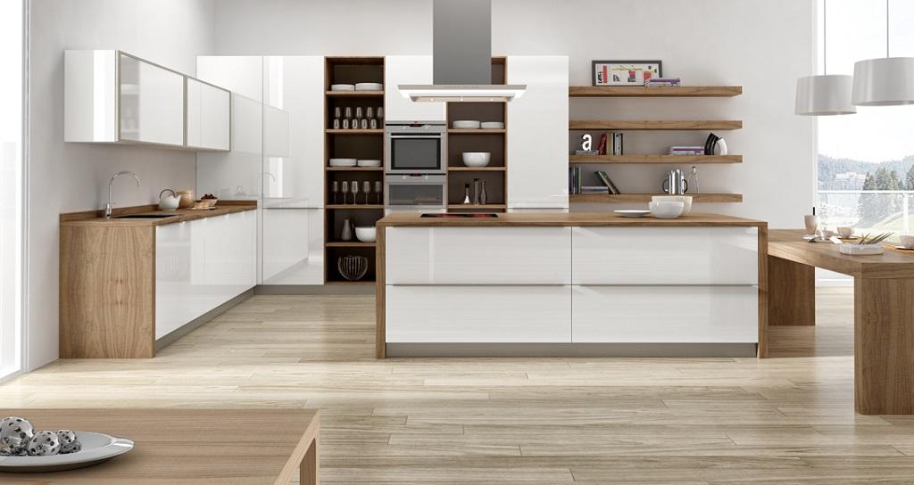 30 fotos de cozinhas em branco e madeira decora o e ideias for Rubro 7 muebles de cocina