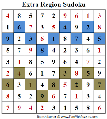 Answer of Extra Region Sudoku (Fun With Sudoku #130)