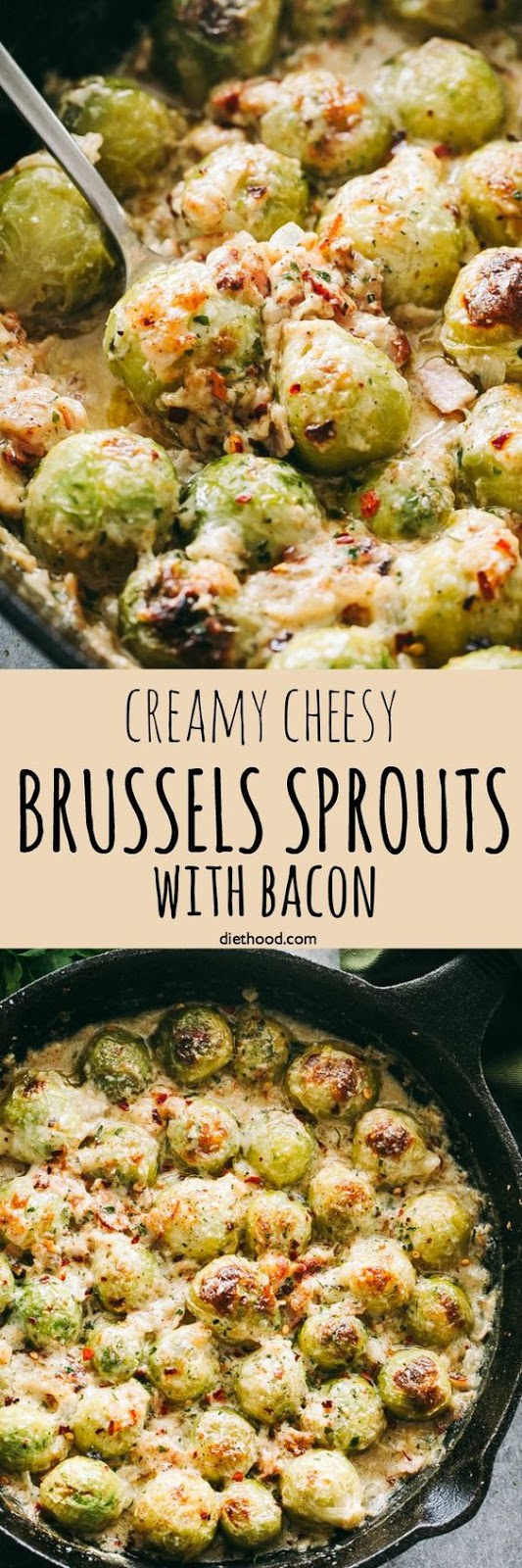 Creamy Cheesy Brussels Sprouts with Bacon