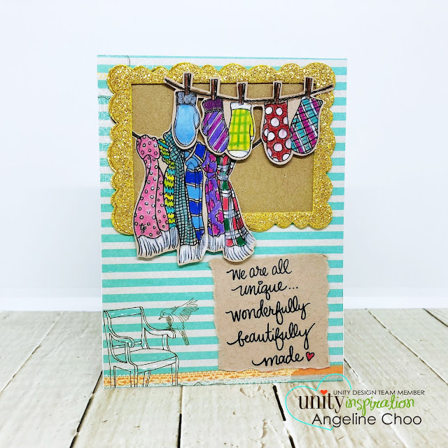 ScrappyScrappy: July Blog Hop with Unity Stamp - Coloring on kraft paper #scrappyscrappy #unitystampco #tyoutube #quicktipvideo #card #cardmaking #craft #crafting #strathmoretan #prismacolor #coloredpencils #averyelle #wonkyscallopframe