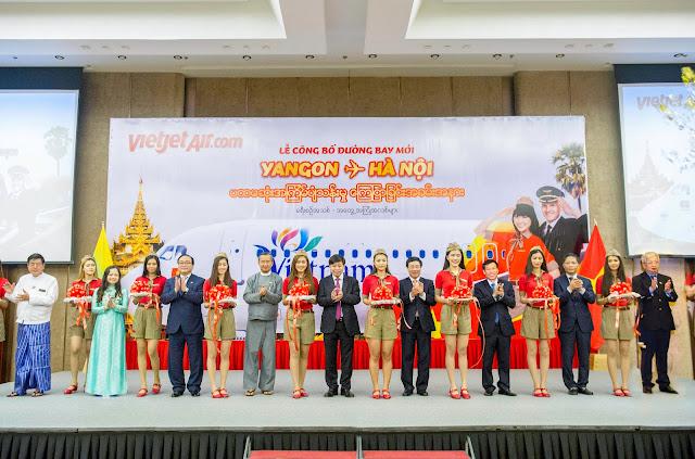 Vietjet tưng bừng khai trương đường bay Hà Nội (Việt Nam) – Yangon (Myanmar)
