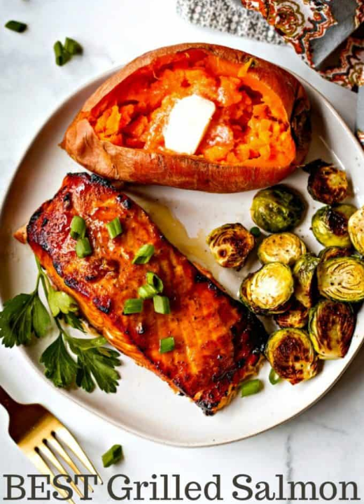 This BEST Grilled Salmon recipe has a slightly sweet and smoky flavor and is grilled to perfection in just around 15 minutes! During cooking, the marinade creates a nice glaze and the salmon filets end up with a slightly crisp outside and light flakiness inside. This simple grilled salmon is not only delicious, but it is extremely easy to prepare. The marinade is mixed up right in a ziplock bag and the fish is grilled in little aluminum boats placed right on top of the grill grates making clean up easy! My family agrees that this is the salmon recipe ever, and I think yours will, too!