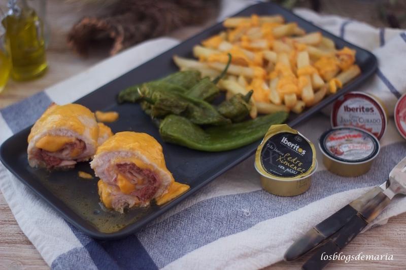 Rollitos de contra muslos rellenos de Iberitos de Pedro Jiménez, bacon y cheddar