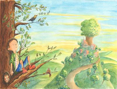 illustration couleur garçon forêt aquarelle encre plume