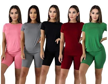 40%OFF Women's 2 Piece Outfits T-Shirt + Shorts Set