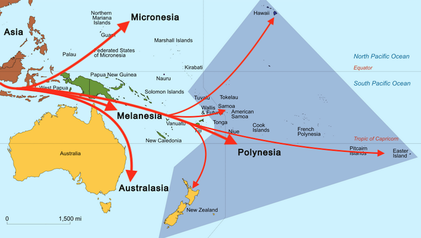 mainstream thinkers claim that the south pacific island groups micronesia melanesia australasia and polynesia were all settled from a westward movement