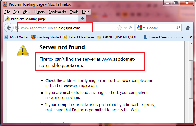 Blogspot com,Other Sites not Opening in My System Laptop PC - ASP