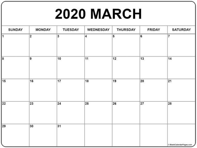Calendario muy simple de pared marzo 2020